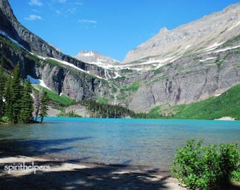 Grinnell Lake, Many Glacier Montana Landscape, Aqua water, Alpine Beauty, Rocky Mountains, Photograph or Greeting card