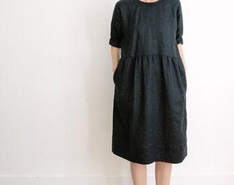 Black Linen Dress. Everyday Linen Dress