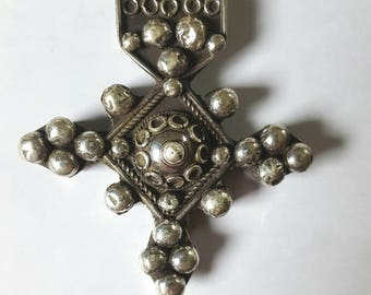 """Morocco - Mauritania – X Rare large granulated cross """"Boghdad"""" solid silver a rosette etched on the reverse"""