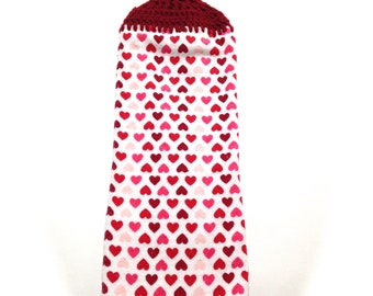 Tiny Hearts Valentine Hand Towel With Claret Crocheted Top
