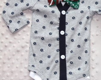 Baby Boy Cardigan and Bow Tie Set, Grey, Football Baby Suit, Trendy Baby Boy Outfit, Baby Boy Football Outfit, Baby Boy Clothe