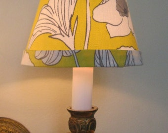 Chandelier Lamp Shade in Yellow and White Fabric