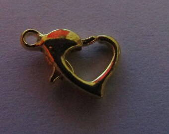 carabiner clasp, gold clasp, heart clasp, 10mmx7mm, set of 2 clasps
