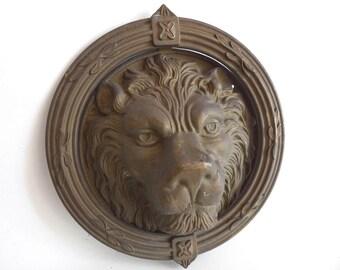 "Door Knocker Lion, Vintage Lion Door Knocker, Extremely large 9"" Solid Brass Detailed Decorative Lion Head Door Knocker. #6A8GA87K6"