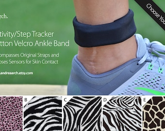 Animal Print Activity/Step Tracker 100% Cotton Ankle Band – Encompasses Original Straps and Exposes Sensors for Skin Contact