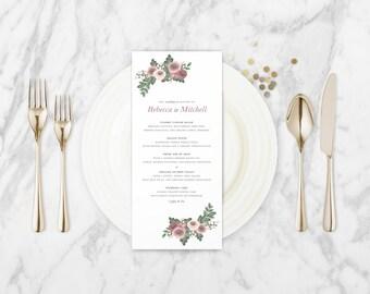 The Zara Watercolour Wildflower Wedding Menu Card