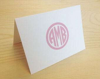 Personalized Custom Circle Monogram Folded Notecard Stationery Stationary - Set of 20