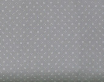 Small White Circles on Gray 100% Cotton Quilt Fabric Blender, Candyland by Another Point of View for Windham Fabrics, WIF42214-2, Grey
