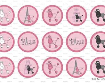 """15 Paris Poodles 2 Digital Download for 1"""" Bottle Caps (4x6)"""