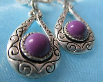 Vintage Silver Toned and Purple Earrings