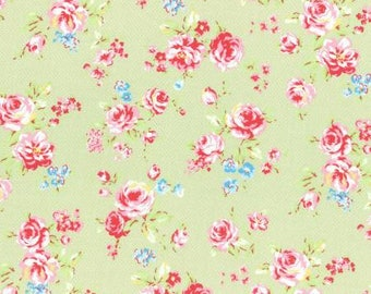 Antique Flower in Pastel Roses on Pale Green Cotton Fabric Lecien 31421-60