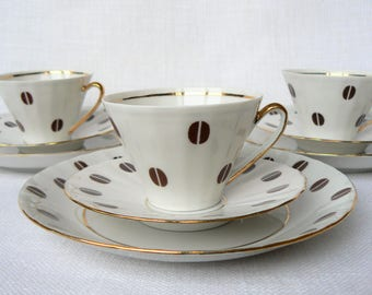 ESPRESSO Coffee Set Vintage/ Thin Porcelain Cup, Saucer & Dessert Plate/ Coffee Beans Decal, Gold Rim/ Latvia, 1980s