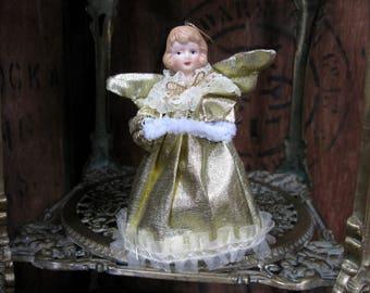Christmas Angel, Angel Decoration, Angel Tree Topper, Gold Angel, Vintage Christmas, 1970s Christmas, Tree Angel, Tree Topper, Kitschmas