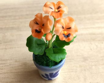 Miniature Flower,Miniature Flower Pot,Miniature Vase,Dollhouse Flower,Miniature Garden,Dollhouse Flower Pot,Miniature Pansy,clay flower
