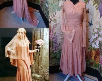 1929,Apricot Lace Wedding Dress.
