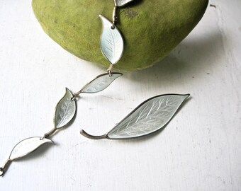 David Andersen Norway Enamel Jewelry, Vintage Jewelry, Guilloche Silver Leaf Design, Modernist Scandinavian, MCM Vintage Brooch and Bracelet