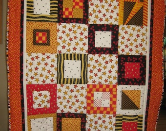 Stars of Red and Yellow Quilt, HAND QUILTED, One Of A Kind