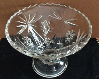Cut Glass PEDESTAL COMPOTE Serving Dish with Star Pattern, Serving Bowl, Fill with Easter Eggs!