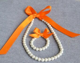 orange ribbon pearl set,orange ribbon with white pearl sets,white pearl set, Little Girl ribbon set ,flower girl gift or first pearls