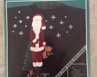 Christmas Iron On Applique Kit Santa Holding Bear