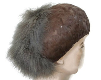 1950's 60's Brown Feather Hat // Feather Cap // Vintage Feather Hat