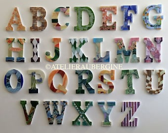 Roman Alphabet # 1, 26 letters in stained glass mosaic