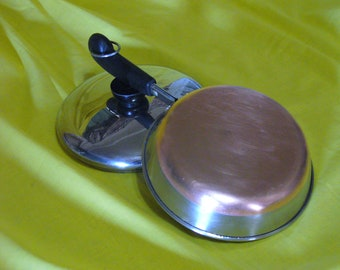 """Vintage Revere Ware Copper Bottom 7"""" Stainless Steel Skillet with Lid"""