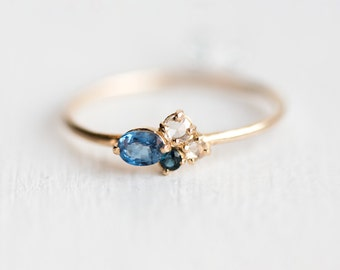 Blueberry Mini Cluster Ring // Blue Sapphire Ring // 14k Gold Birthstone Cluster Ring // Rose Cut White Diamonds // Gold Sapphire Ring
