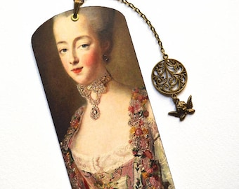 Bookmark with Bronze Pendant - Painting - Marie-Antoinette - Queen of France - Handmade