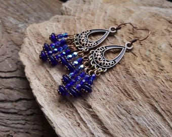 Boho Style Dangle Earrings, Blue Czech Glass Crystal Beaded Earrings, Gypsy Style Earrings, Bohemian Copper Charm Earrings