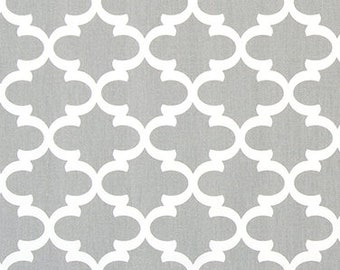 Gray and White Geometric Cotton Home Decor Fabric by the Yard Designer Drapery Curtain or Upholstery Fabric Gray Quatrefoil Fabric G139