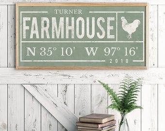 Rustic Home Decor - Coordinates - Latitude Longitude - Housewarming Gift - Entryway Print - Modern Farmhouse - White Farmhouse Print