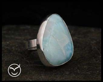 Larimar statement ring, adjustable ring, sterling silver 0.925. 253