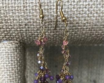 Purple Cluster Swarovski Crystal Earrings