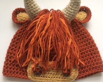 Handmade crochet Scottish Highland Cow or Coo hat, made on the Isle of Skye