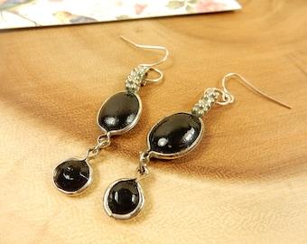 Black Earrings, Black Drop Earrings, Distressed Effect Jewelry, Silver and Black Dangle Earrings, Gift for Friend, Unusual Jewellery