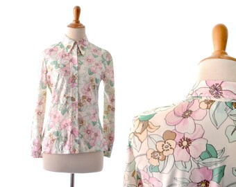 1970s Top, 70s Top, Floral Blouse, Pink Blouse, Womens Blouse, Vintage Blouse, Polyester Top, Polyester Shirt, Polyester Blouse