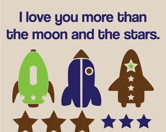 Rocket Ships and Stars with I love you more than the moon and the stars quote Vinyl Wall Decal Kit