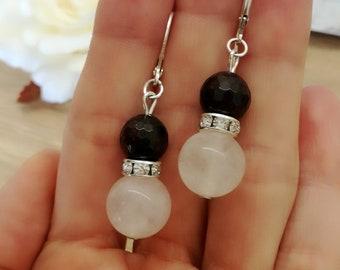 Pink Quartz earrings, Garnet  earrings, silver dangle earrings, Dangle Earrings, gift ideas