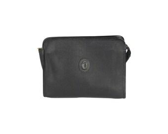Authentic TRUSSARDI Vintage Black Crespo Leather Cosmetic Bag Zip Pouch