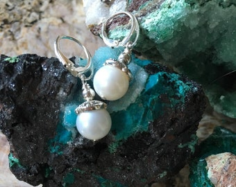 Beautiful AAAA quality perfect round White Cultured Pearl earrings with elegant Sterling Silver Leverback and sterling Marcasite Caps