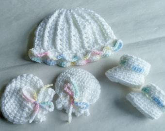Preemie hat, mitts and booties, Small preemie set, Small hat, mitts and booties, Preemie clothing.