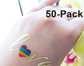 Gay Tattoo, LGBT Tattoos, Rainbow Heart Temporary Tattoo Love, Jewel Flash Tattoos, Skin Stickers, Wholesale Temporary Tattoos, Bulk Order