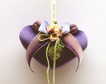 Purple Velvet  Heart Sachet with Velvet Flowers