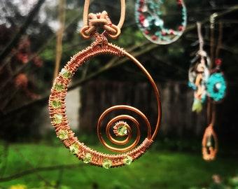 Copper and Peridot Green Pendant