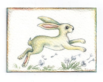 Original ACEO White rabbit & dandelions..  Original Painting Watercolor Card collectible fine art