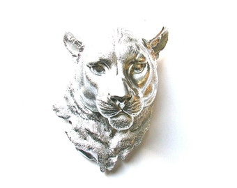Faux Taxidermy SILVER Panther Head wall decor wall hanging Faux taxidermie faux animal head wall mount wild cat decor silver animal head
