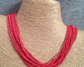 Red beaded necklace, red necklace, red multi-strand necklace, red bridesmaids, red multistrand necklace, red bridal party, red boho necklace