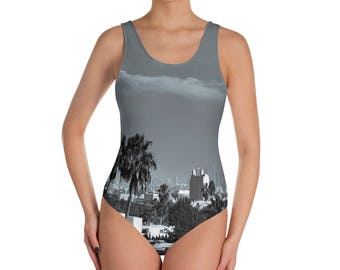 Los Angeles panorama GRAY | One-Piece Swimsuit