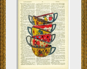 TIN TOY TEACUPS dictionary page art print - an upcycled antique dictionary page with an original photographic illustration - home decor